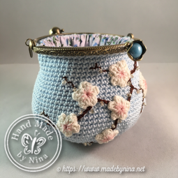 Blue Cherry Blossom *Coin Purse II (Open)